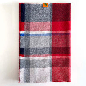 Extra Fine 100% Merino Wool Scarf - Red/Navy.Grey Check