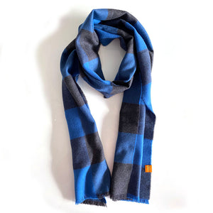 Extra Fine 100% Merino Wool Scarf - Navy and Blue Check.