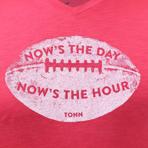 Now's the Day Rugby V-Neck Tee Raspberry