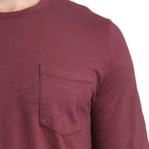 Mens Biker Surf Long Sleeve Tee in wine