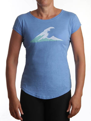 Ladies Irish Coast Wave Tee Medium Blue - Petite Fit - X Small to Large left