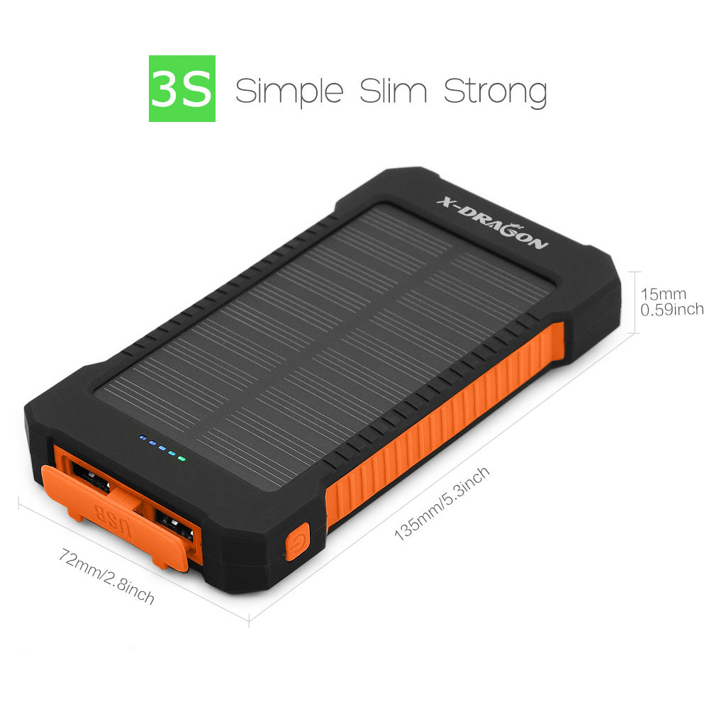 X-DRAGON 10000mAh Solar Power Bank Charger Dual USB Wateproof for iPhone