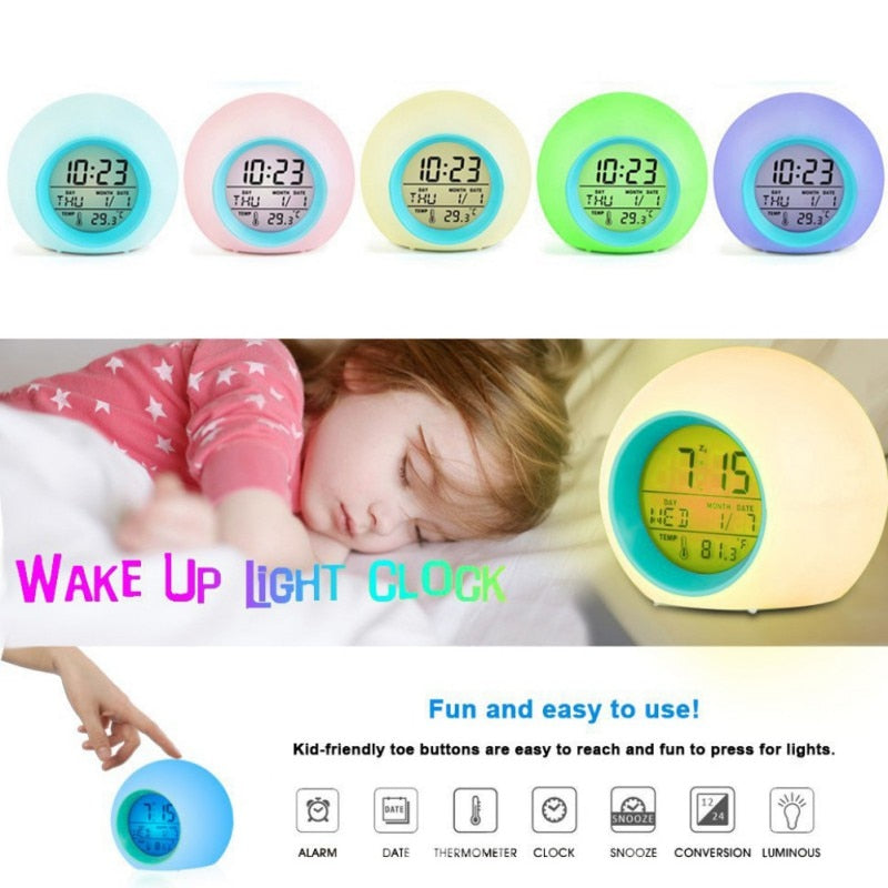 Gradient Color Music Alarm Clock