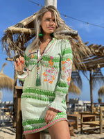 Dress Green White Ember by Place De Soleil- Smuk