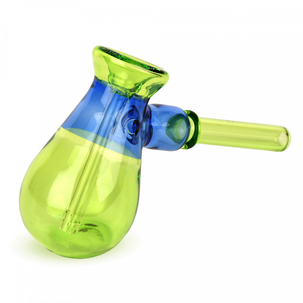 "Red Eye Glass 4.5"" Lime Green & Sapphire Blue Colour Blocked Hammer Bubbler"