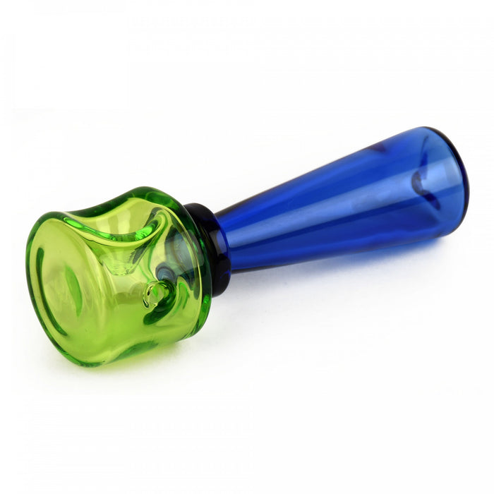 "Red Eye Glass 4.25"" Lime Green & Sapphire Blue Dapper Hand Pipe"