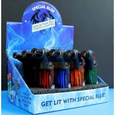 Special Blue Torch - Mini Butane Gas Torch Lighters Display of 12 - Bernie Plastic