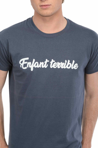T-SHIRT VELOURS ENFANT TERRIBLE BLEU DENIM made in France Edgard Paris