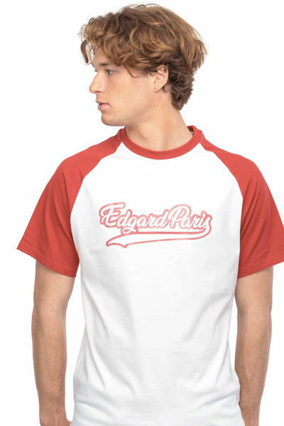T-SHIRT BASEBALL ROUGE made in France Edgard Paris