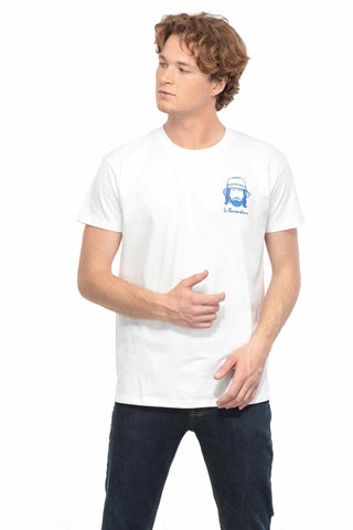 T-SHIRT BRODERIE LE BAROUDEUR BLANC made in France Edgard Paris