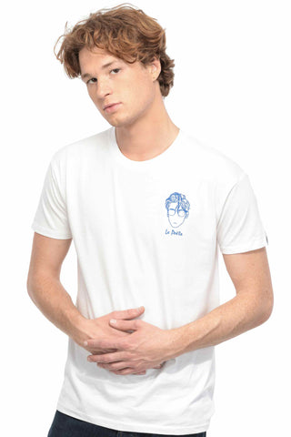 T-SHIRT BRODERIE LE POÈTE BLANC made in France Edgard Paris