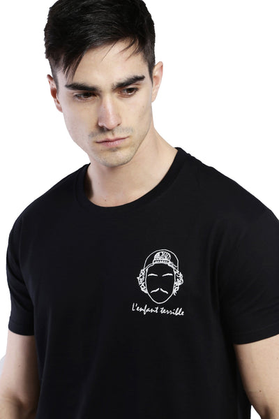 Tee-shirt brodé noir homme broderie l'enfant terrible edgard Paris