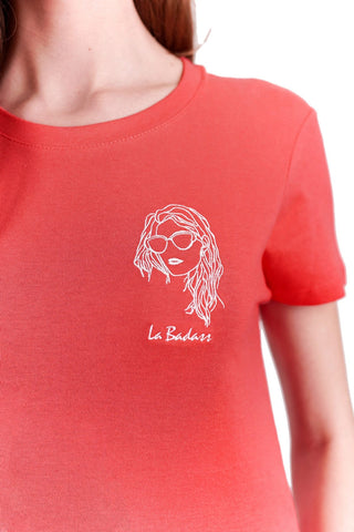 T-SHIRT BRODERIE LA BADASS ROUGE made in France Edgard Paris
