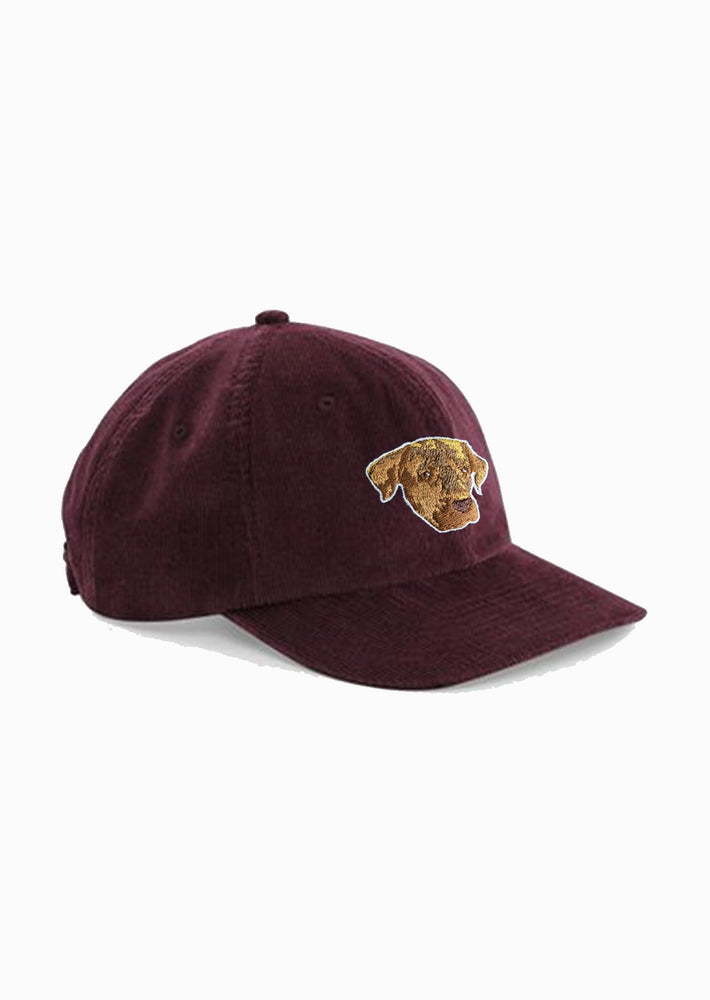 casquette velours bordeaux brodé le chien Elliot Made in Franc