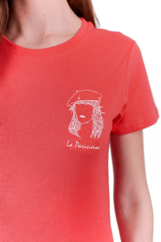 T-SHIRT BRODERIE LA PARISIENNE ROUGE made in France Edgard Paris