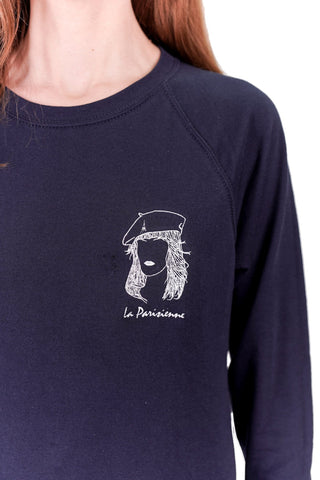 SWEATSHIRT BRODERIE LA PARISIENNE BLEU MARINE made in France Edgard Paris