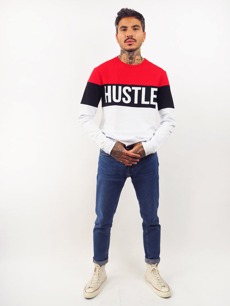 Pull Sweat-shirt Hustle imprime bande blanche rouge noir Edgard Paris
