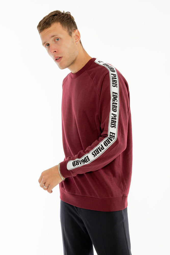 Sweatshirt à bandes velours bordeaux Edgard Paris