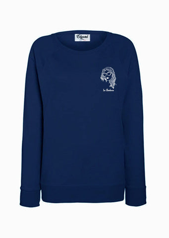 SWEATSHIRT BRODERIE LA BADASS BLEU MARINE made in France Edgard Paris