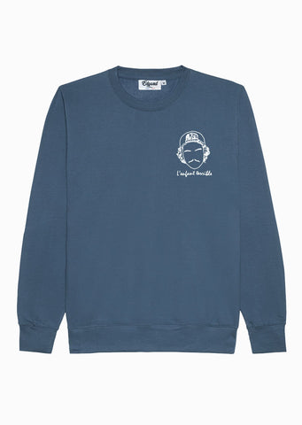 SWEATSHIRT BRODERIE L'ENFANT TERRIBLE BLEU PÉTROLE made in France Edgard Paris
