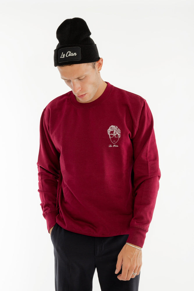 Sweat-shirt col rond bordeaux broderie Le Poète Edgard Paris