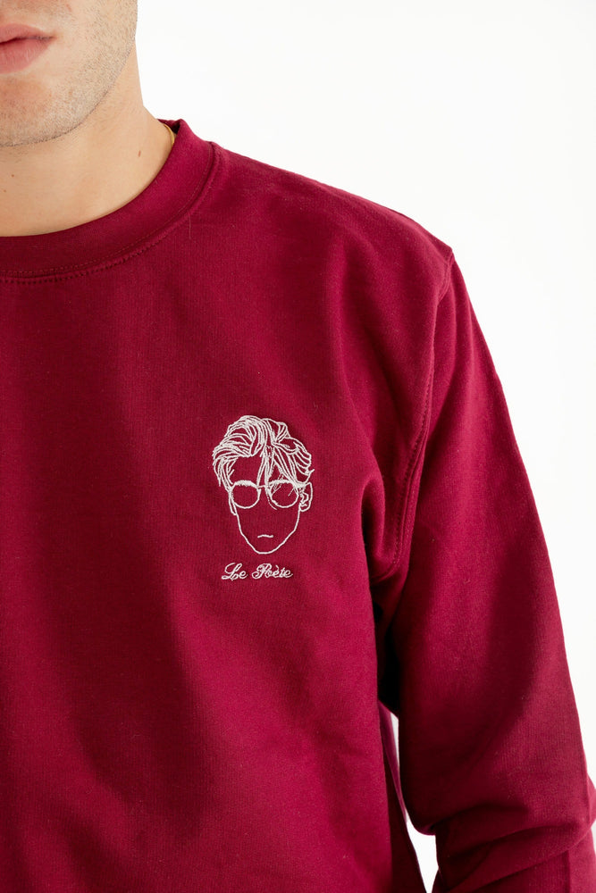 Sweat-shirt bordeaux broderie Le Poète Edgard Paris