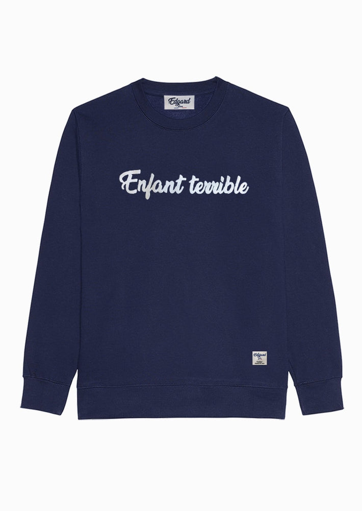 sweat-shirt bleu marine velours Enfant Terrible Made in France