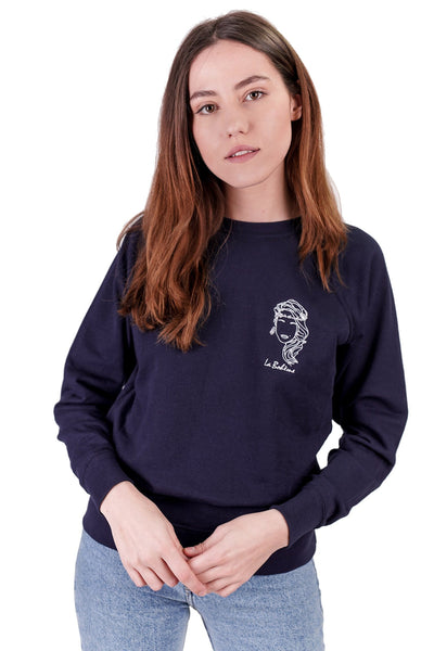 SWEATSHIRT BRODERIE LA BOHÈME BLEU MARINE made in France Edgard Paris