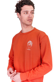 SWEATSHIRT BRODERIE LE POÈTE ORANGE made in France Edgard Paris