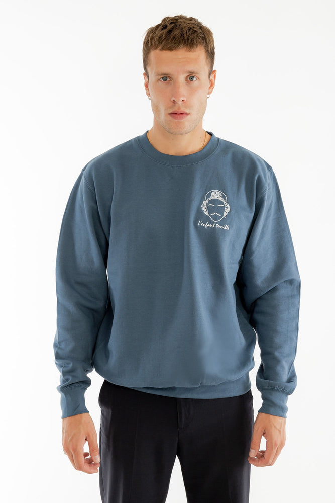 Sweat-shirt bleu broderie L'enfant terrible Edgard Paris