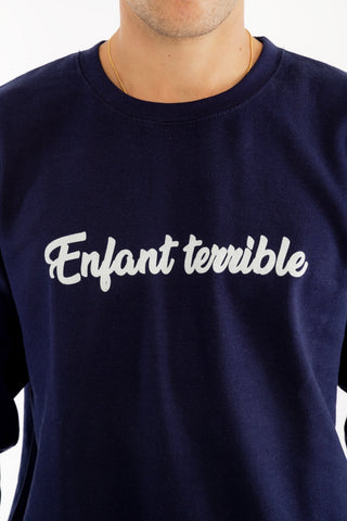 SWEATSHIRT VELOURS ENFANT TERRIBLE BLEU MARINE made in France Edgard Paris