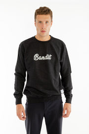 SWEATSHIRT RÉFLÉCHISSANT BANDIT NOIR CHINÉ made in France Edgard Paris