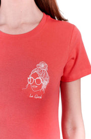 T-SHIRT BRODERIE LA GEEK ROUGE made in France Edgard Paris