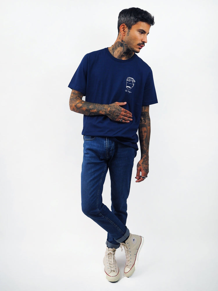 T-shirt bleu marine embroided Edgard Paris
