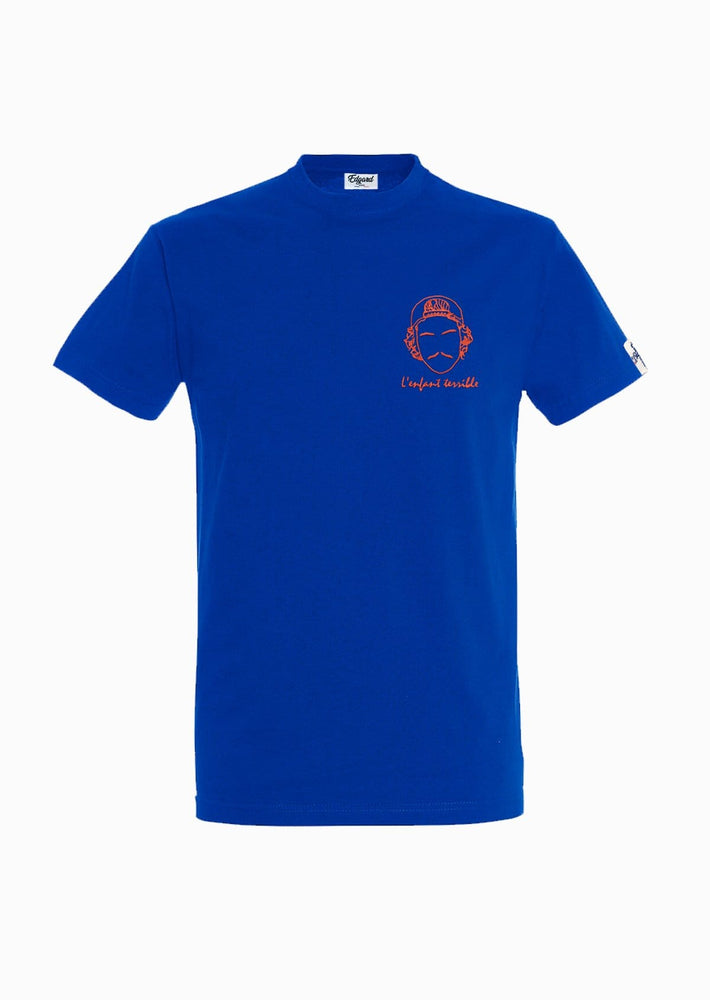 tee-shirt bleu roi brodé Enfant Terrible Made in France Edgard Paris