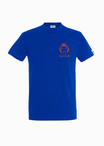 T-SHIRT BRODERIE L'ENFANT TERRIBLE BLEU ROI made in France Edgard Paris