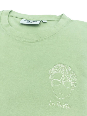 T-SHIRT BRODERIE LE POÈTE VERT TILLEUL made in France Edgard Paris