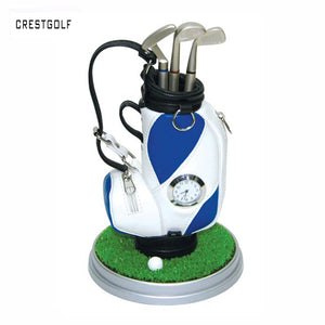 3 Pcs Miniature Golf Bag Pen Holder Clock