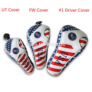 USA FLAG Head Cover for #1 Driver #3, 5# Fairway Wood with 1 Set Free Clip & Ball Marker