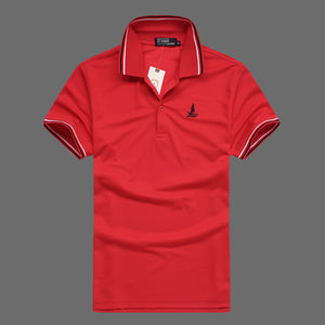 LUCKY SAILING Men's Slim Cotton Polo Golf Shirt
