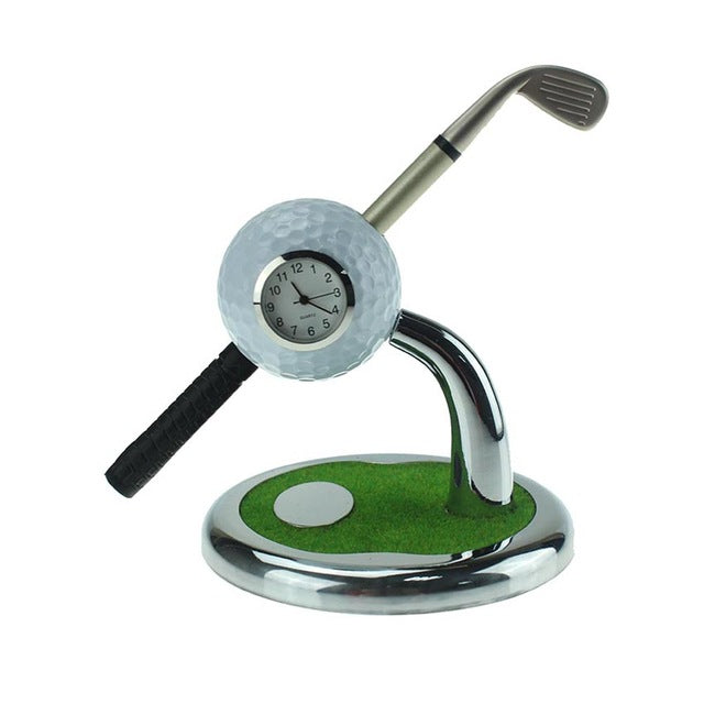 Golf Ball Watch Design Pen Holder With Mini Club Shape Pen