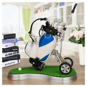 Miniature Golf Bag With Pull Cart Pen Holder 3 Pieces Aluminum Pen Golf Clubs