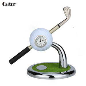 2 Piece Mini desktop golf ball pen stand With Alarm Clock