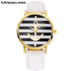 Vansvar Leather Strap Anchor Watch