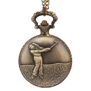 Bronze Golfing Theme Pocket Quartz Watch