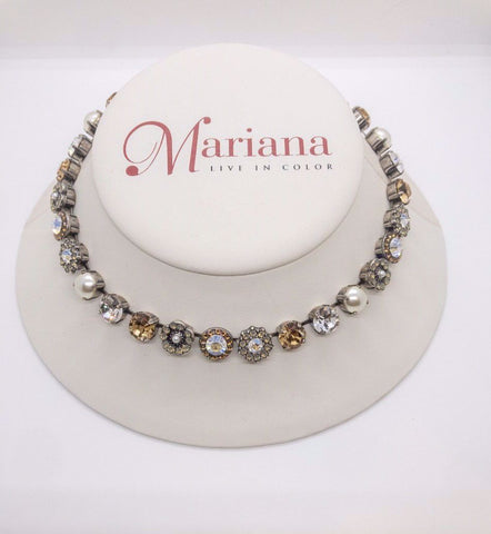 Mariana Medium Necklace in Champagne and Caviar on Silver