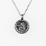 Mariana Pendant Mood Indigo on Silver With Guardian Angel