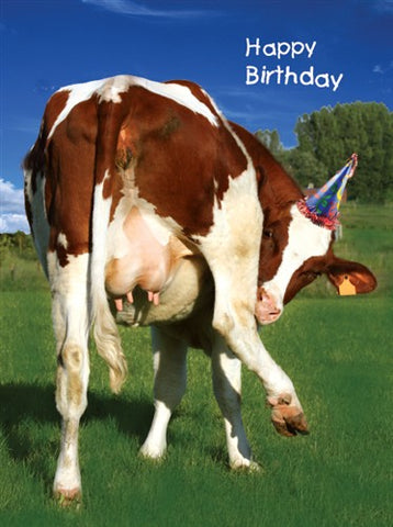Cow with Party Hat Birthday Card