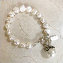 Pearl Bracelet with Pearl and Marcasite Enhancer