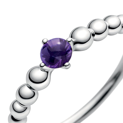 Purple Sterling Birthstone Ring Size 5